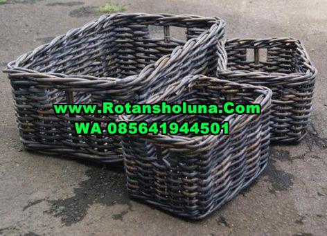 keranjang basket rattan grey