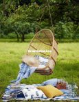 Swing Chair with Natural Rattan