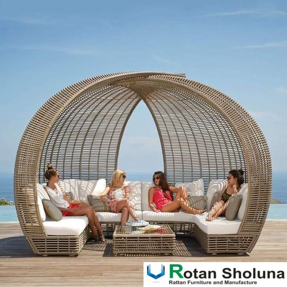 Sofa Santai Daybed Rattan Synthetic